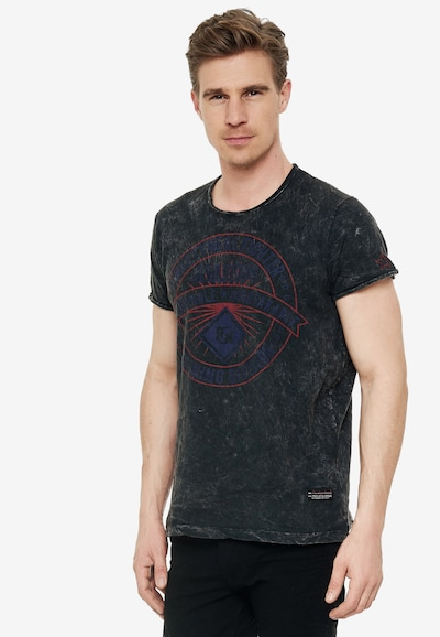 Rusty Neal Cooles T-Shirt mit großem Front-Print in anthrazit: Frontalansicht