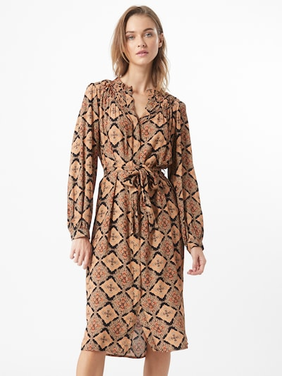OBJECT Kleid in dunkelbraun / orange, Modelansicht
