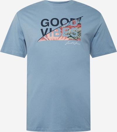 Jack & Jones Plus T-Shirt 'KIM' en bleu fumé / bleu nuit / olive / rose / rouge pastel, Vue avec produit