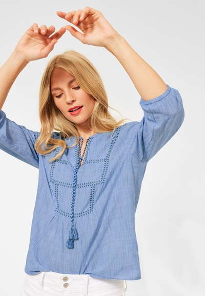 STREET ONE Bluse 'Chambray ' in hellblau / dunkelblau, Modelansicht