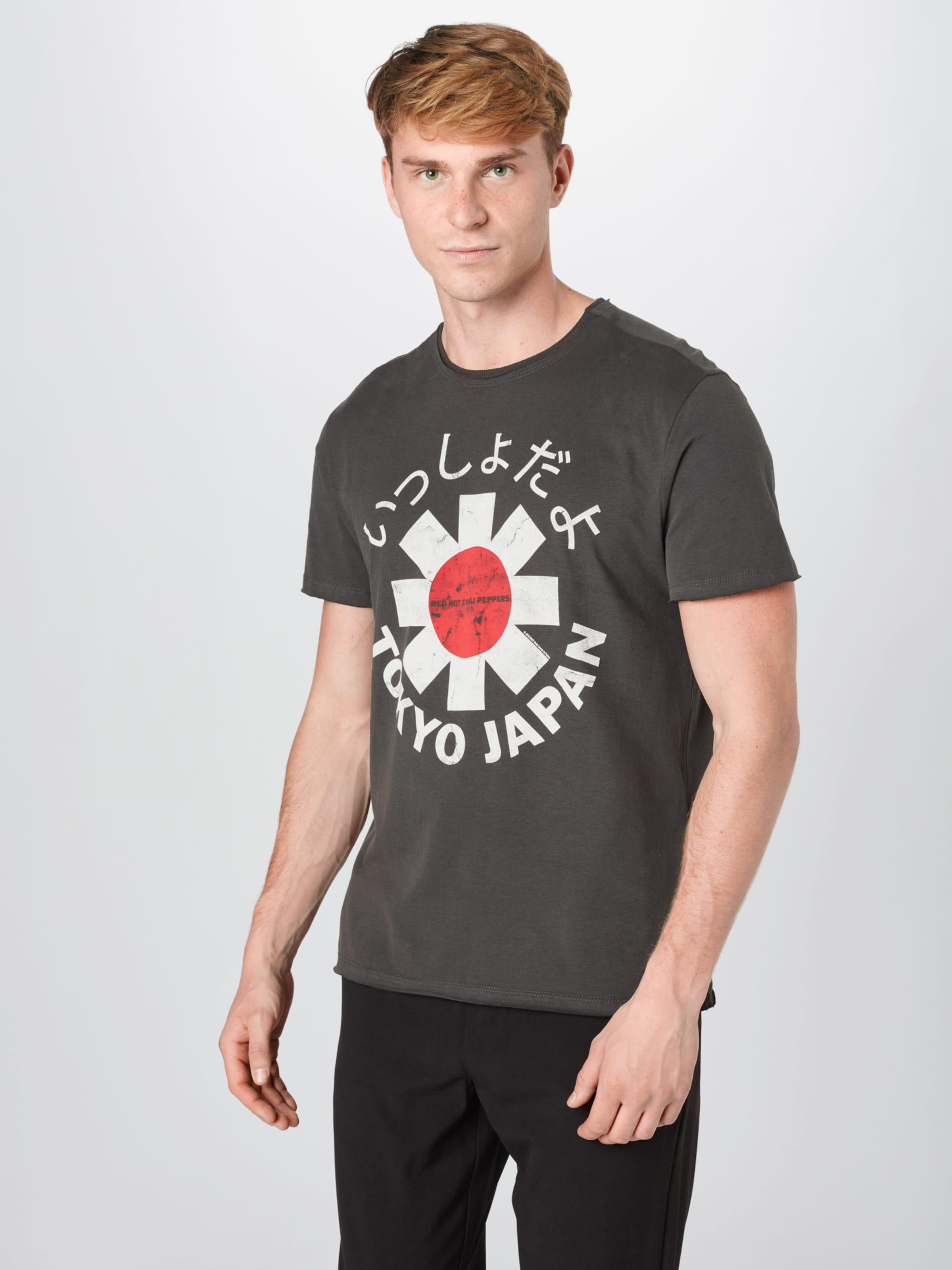 AMPLIFIED T-Shirt 'Tokyo' in dunkelgrau / rot / weiß Jersey AMP0040001000001