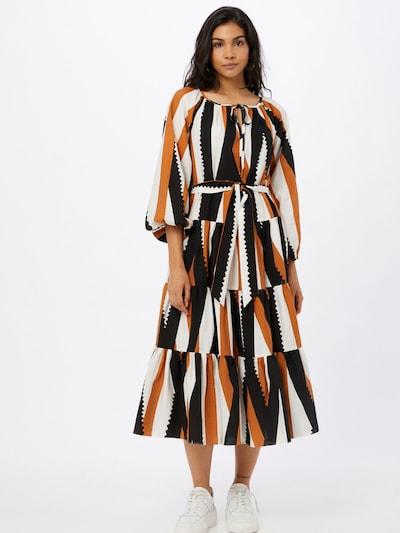 Traffic People Košilové šaty - karamelová / černá / bílá, Model/ka