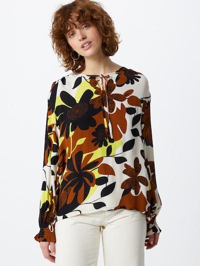 Masai Bluse in creme / braun / gelb / schwarz, Modelansicht