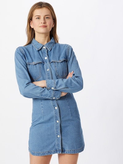 Missguided Kleid 'WESTERN YOKE' in blue denim, Modelansicht