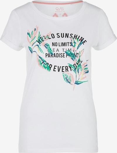 Q/S designed by T-Shirt in grün / rosa / schwarz / weiß, Produktansicht