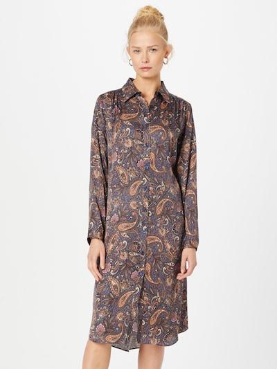 SAND COPENHAGEN Košeľové šaty 'Asia' - tmavomodrá / koňaková / svetlofialová / biela, Model/-ka
