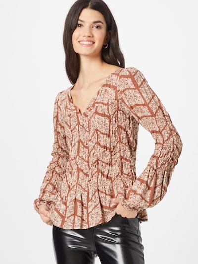 Bluză 'Mauria' Cream pe maro / alb, Vizualizare model