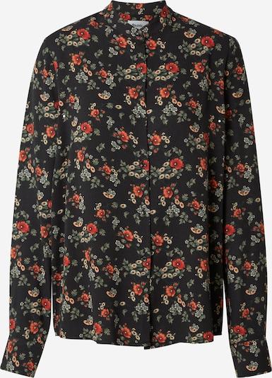 Brava Fabrics Blusa 'Dalia' en beige / verde oscuro / rojo anaranjado / negro, Vista del producto