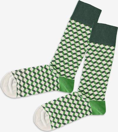 DillySocks Socks in Cream / Dark green, Item view
