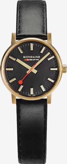 Mondaine Uhr in beige / gold / rot / schwarz, Produktansicht