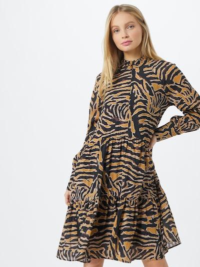 SECOND FEMALE Kleid in senf / bordeaux / schwarz / weiß, Modelansicht