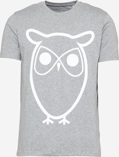 KnowledgeCotton Apparel T-Shirt 'ALDER' in graumeliert / weiß, Produktansicht