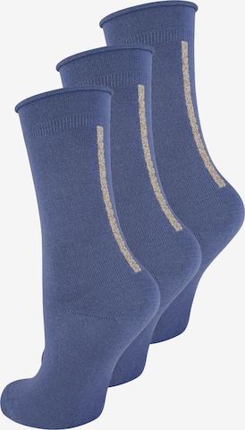 ELBEO Damensocken ' 3-Pack Straight Elegance ' in Blau