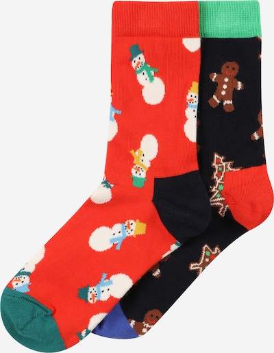 Happy Socks Socks in Night blue / Brown / Light green / Orange red / White, Item view
