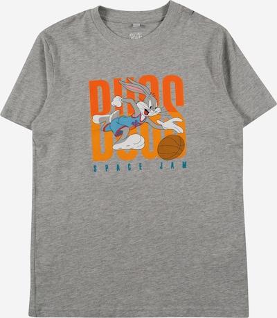 Mister Tee T-Shirt in rauchblau / taubenblau / graumeliert / neonorange / weiß, Produktansicht