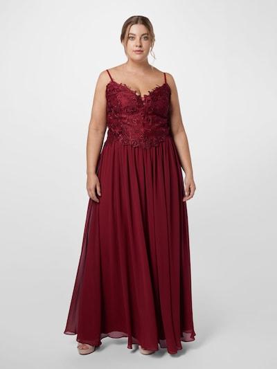 Rochie de seară My Mascara Curves pe roșu vin, Vizualizare model