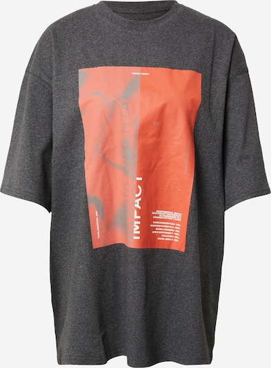 Tricou 'Zero Impact' NU-IN pe gri amestecat / roșu deschis / alb, Vizualizare produs