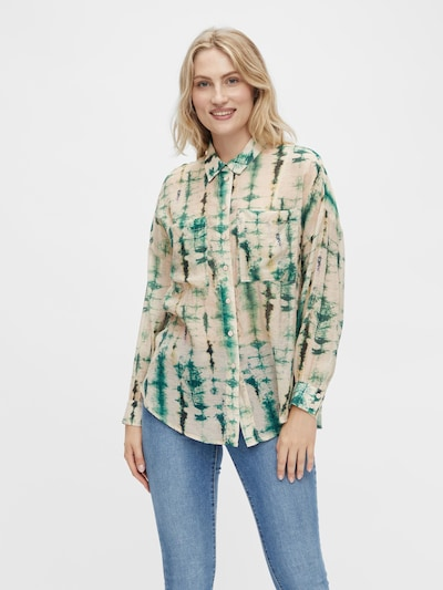 VILA Bluse 'Linua' in cappuccino / grün / dunkelgrün, Modelansicht
