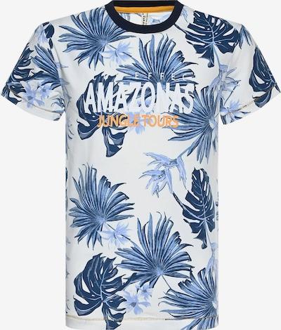 BLUE EFFECT Camiseta 'Amazonastrip' en azul ahumado / azul noche / naranja claro / blanco, Vista del producto
