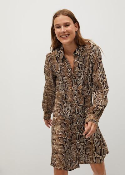 MANGO Kleid 'Boa' in beige / braun / dunkelbraun, Modelansicht