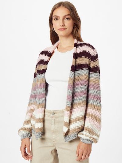 LIEBLINGSSTÜCK Strickjacke 'Katalina' in hellbraun / graumeliert / rosa / schwarz / weiß, Modelansicht