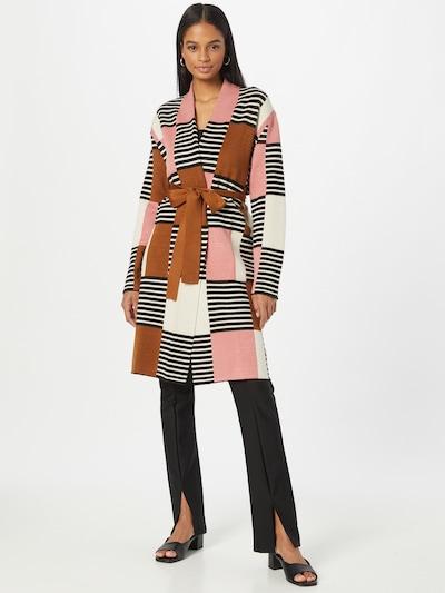 Masai Strickjacke 'Lorika' in rostbraun / rosa / schwarz / weiß, Modelansicht