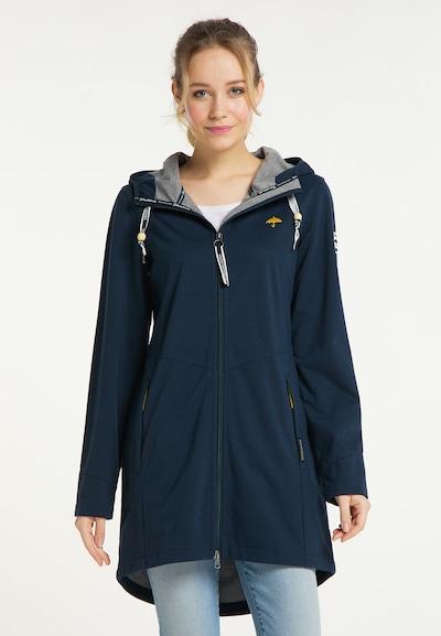 Schmuddelwedda Functionele mantel in de kleur Blauw / Geel, Modelweergave