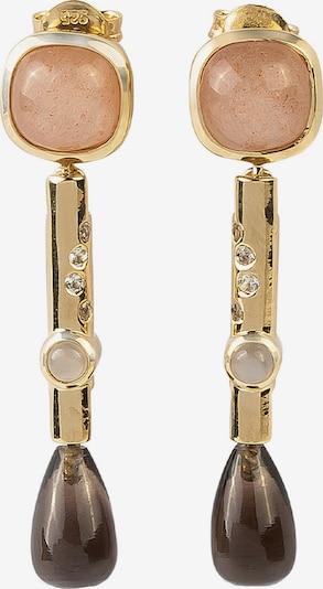 Carolin Stone Ohrringe in braun / gold / rosa, Produktansicht