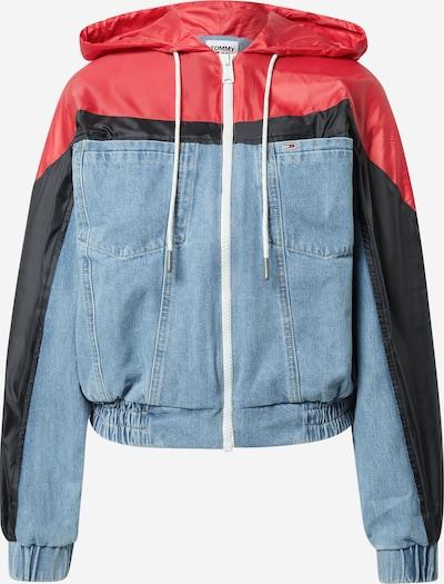 Tommy Jeans Prijelazna jakna u svijetloplava / svijetlocrvena / crna, Pregled proizvoda