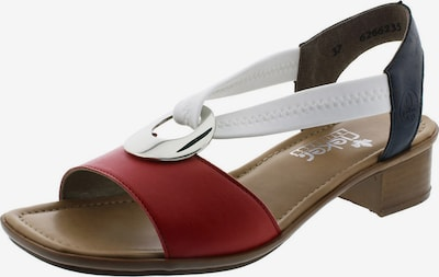 Sandale RIEKER pe albastru porumbel / roșu / alb, Vizualizare produs