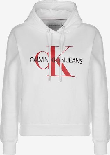 Calvin Klein Jeans Hoodie ' Crop Monogram ' in weiß, Produktansicht
