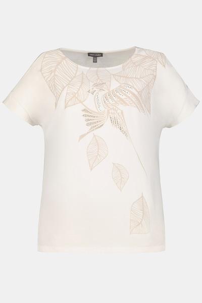 Gina Laura Gina Laura Damen T-Shirt, Papagei, Blätter, Leinenmix-Jersey 750085 in beige / weiß, Produktansicht
