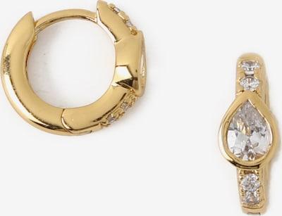 Orelia Boucles d'oreilles 'Crystal Teardop Huggie Hoop' en or, Vue avec produit