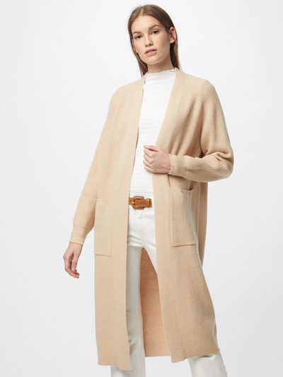 HUGO Manteau en tricot 'Shawana' en beige, Vue avec modèle