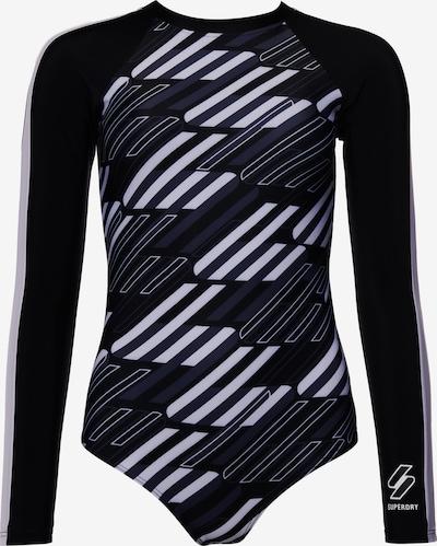 Superdry Sportbadeanzug in blau / grau / schwarz / weiß, Produktansicht