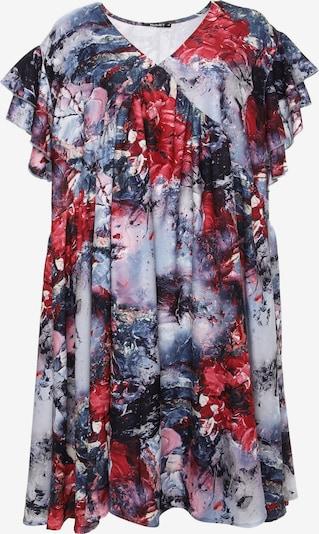 Madam-T Jurk 'Kuria' in de kleur Nachtblauw / Opaal / Rosa / Rood, Productweergave