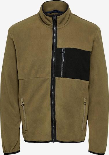 Only & Sons Big & Tall Fleece Jacket 'DAVIS' in Light brown / Black, Item view