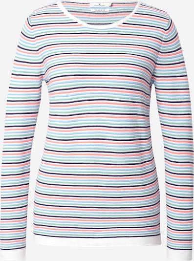 TOM TAILOR Pull-over en bleu marine / bleu clair / menthe / rouge pastel / blanc, Vue avec produit