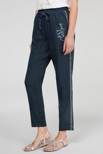 Soccx Leinenhose mit Bindeband in dunkelblau, Modelansicht