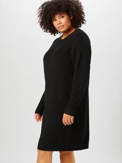 Rochie tricotat KAFFE CURVE pe negru, Vizualizare model