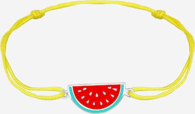 ELLI Armband Melone, Textil-Armband in gelb / grün / rot / silber, Produktansicht