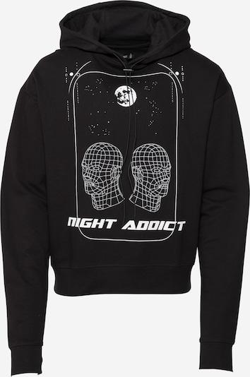 Bluză de molton Night Addict pe negru / alb, Vizualizare produs