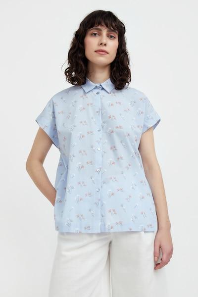 Finn Flare Kurzarm-Bluse in hellblau / smaragd / orange / weiß, Modelansicht
