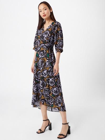 Closet London Robe en marron / vert / noir / blanc, Vue avec modèle