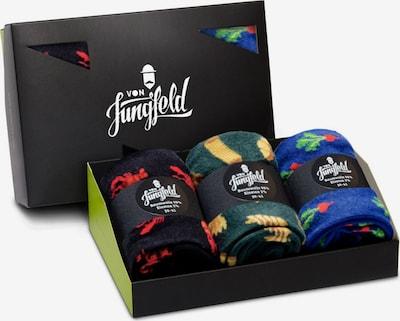 Von Jungfeld Chaussettes en bleu foncé / jaune / vert foncé / rouge / noir, Vue avec produit