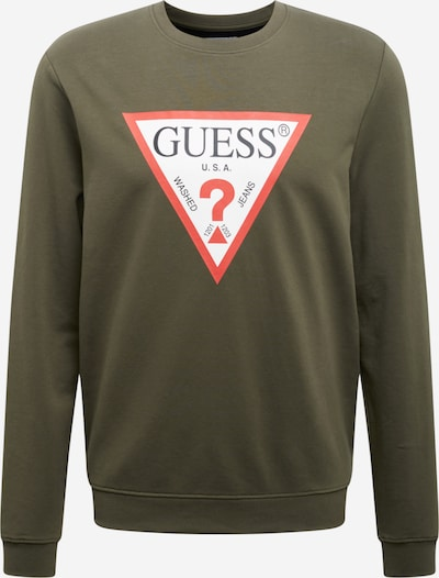 GUESS Sweatshirt 'AUDLEY' in oliv / rot / schwarz / weiß, Produktansicht