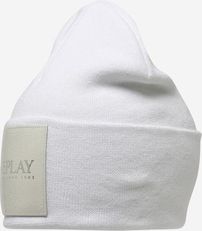 REPLAY Cepure, krāsa - gaiši pelēks / balts, Preces skats