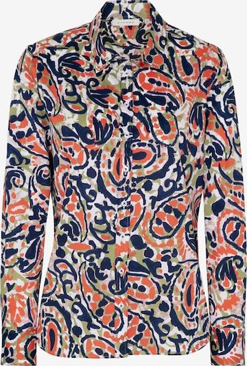 ETERNA Bluse in dunkelblau / oliv / orange / weiß, Produktansicht