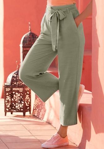 LASCANA Élére vasalt nadrágok - zöld
