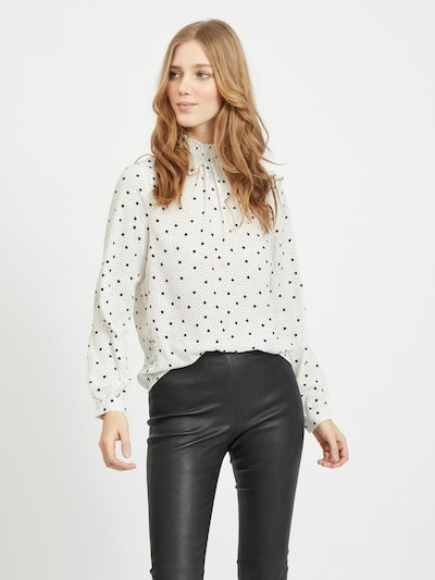 VILA Bluse in dunkelgrau / schwarz / naturweiß, Modelansicht